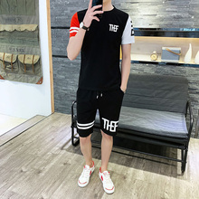 2019 Men Tracksuit Summer Short Sleeve Tee Shirt+shorts Set Casual Slim Fit Sporting Track Suit Mens Masculino Two Pieces Sets