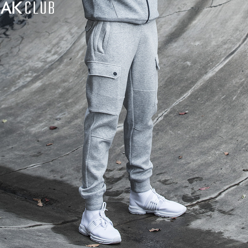 AK CLUB Men Sweatpants Ankle Tied Pants Leg Pockets Full Length Drawstring Pants Jersey Knitted Fabric Brand Sweatpants 1852002 drawstring floral casual ankle length pants