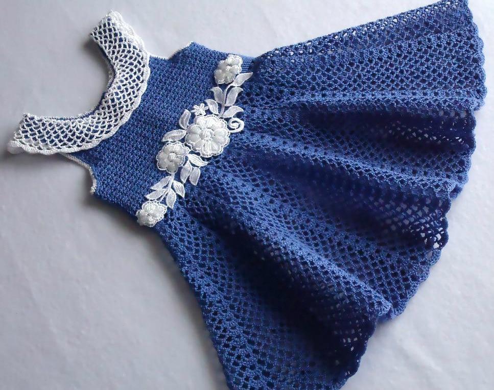 Muitas vezes Vestido de menina artesanal crochê bebê vestido infantil roupas  BS87