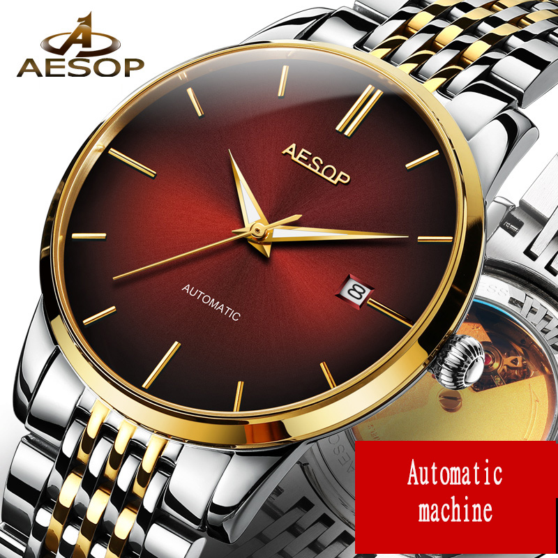 Luxury AESOP watch men ultrathin dial tainless steel waterproof automatic machine date red wristwatch relogio masculine стоимость