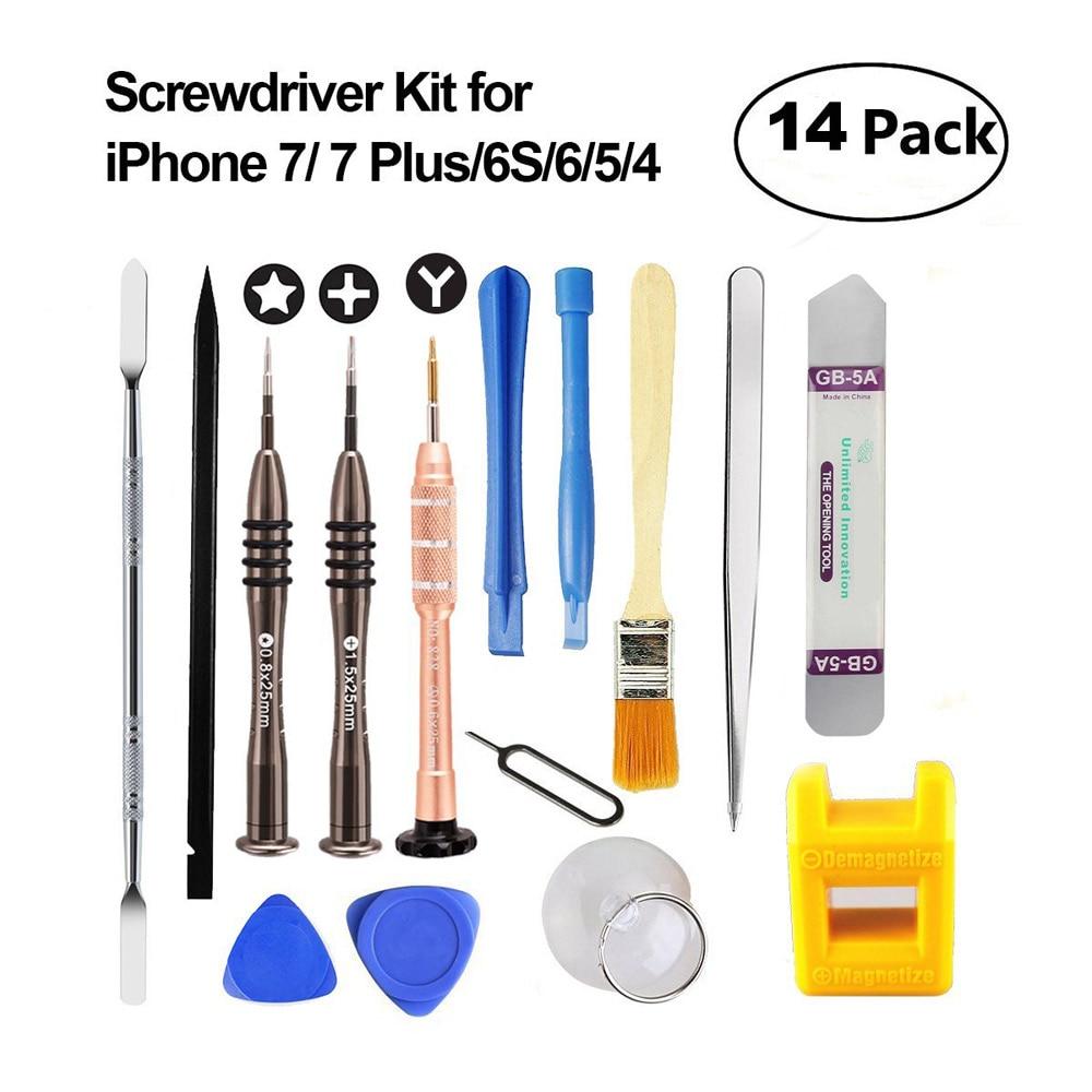 Professionelle 14in1 Handy-reparatur-tools Kit Pry Eröffnung Werkzeug Schraubendreher Set für iPhone7 6 S 6 5 Samsung Pad Phone Tools Set