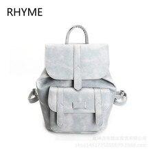 Рифма бренд элегантный дизайн кожа Школа Рюкзак Сумка для Колледж простой Дизайн Для мужчин Повседневное Daypacks Mochila мужской новый рюкзак