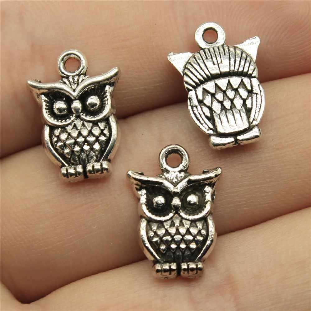 Sowa zawieszki charms Diy tworzenia biżuterii biżuteria znalezienie 30 sztuk antyczne srebro kolor 0.6x0.5 cal (16x12 mm)