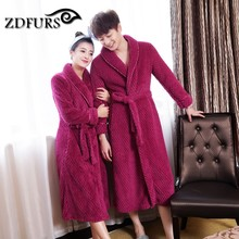 ZDFURS Women Plus Size Winter Dressing Thick Waffle Long Kimono Bath Robe Gown Hot Sale
