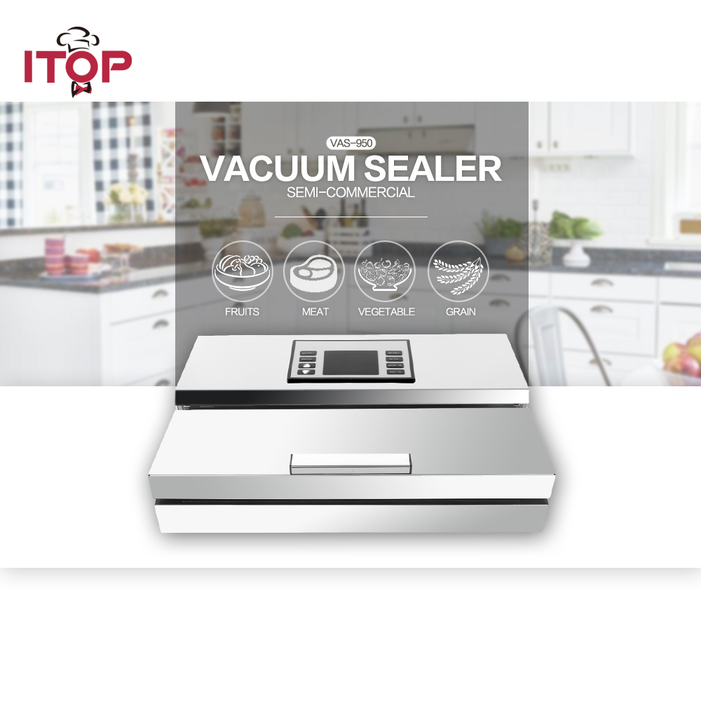 ITOP 2pc Semi-commercial Vacuum Sealer Packing Machine Stainless Steel Food Fish Meat Vegetable Storage Processors 110V/220V