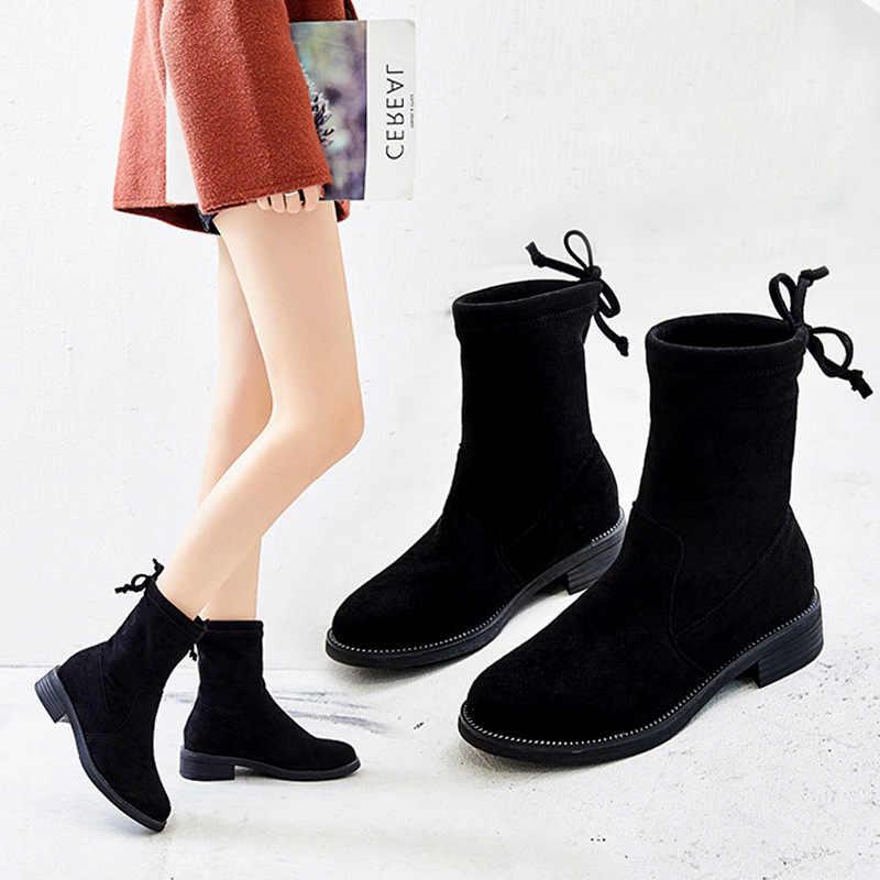 Haisum çizmeler kadın kaşmir büyük boy bayan botları kısa çizmeler kadın sıcak tutmak H-725