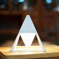 GX.Diffuser Pyramid Practical Touch Switch Table Lamp Waterproof Art Deco Table Lamp Eye Protection Desk Lamp USB Mini Bedside