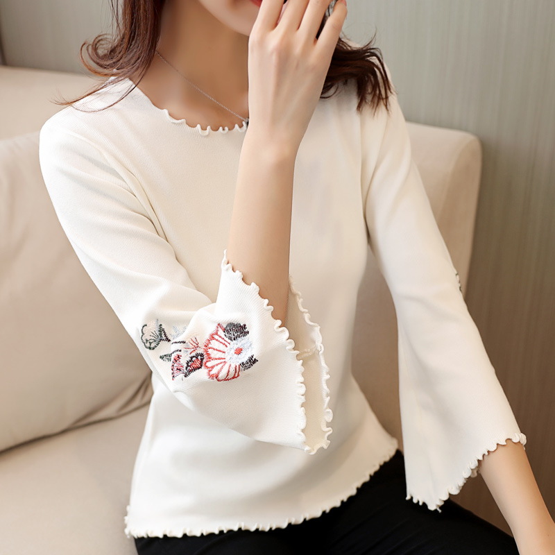Spring Summer Women Knitted <font><b>Sweaters</b></font> and Pullovers <font><b>3/4</b></font> Flare <font><b>Sleeve</b></font> Embroidery Ladies Tees Streetwear Tops Camiseta image
