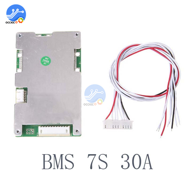 BMS 7S 24V 30A 18650 Lithium Battery Protection Board Current Balancer Lipo Li ion BMS PCB