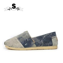 3d0190812bb 2018 Spring Summer New Classic Canvas Espadrille men Flats Shoes Washed  Denim Loafers Mixed Color Male