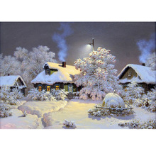 Diamond painting landscape Snow House Home Decoration DIY  Painting Resin Round Drill Embroidery Needlework