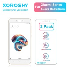 2 Pack KOROSHY Tempered Glass for Xiaomi Mi 4 5 4C 4S Redmi 4A 5A 3 3S 3X Pro Note Screen Protector 9H 2.5D film