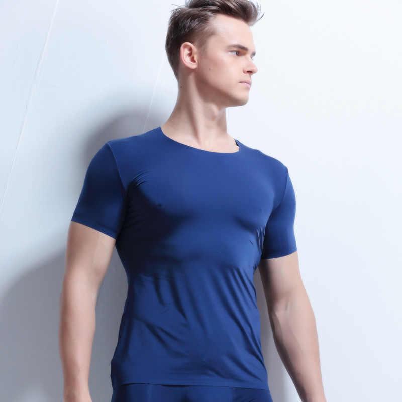 AIIOU hombres Sexy Undershirt hielo seda adelgazante transparente camisetas de malla de nailon para hombre cuello en V mangas cortas finas Tops Gay ropa interior