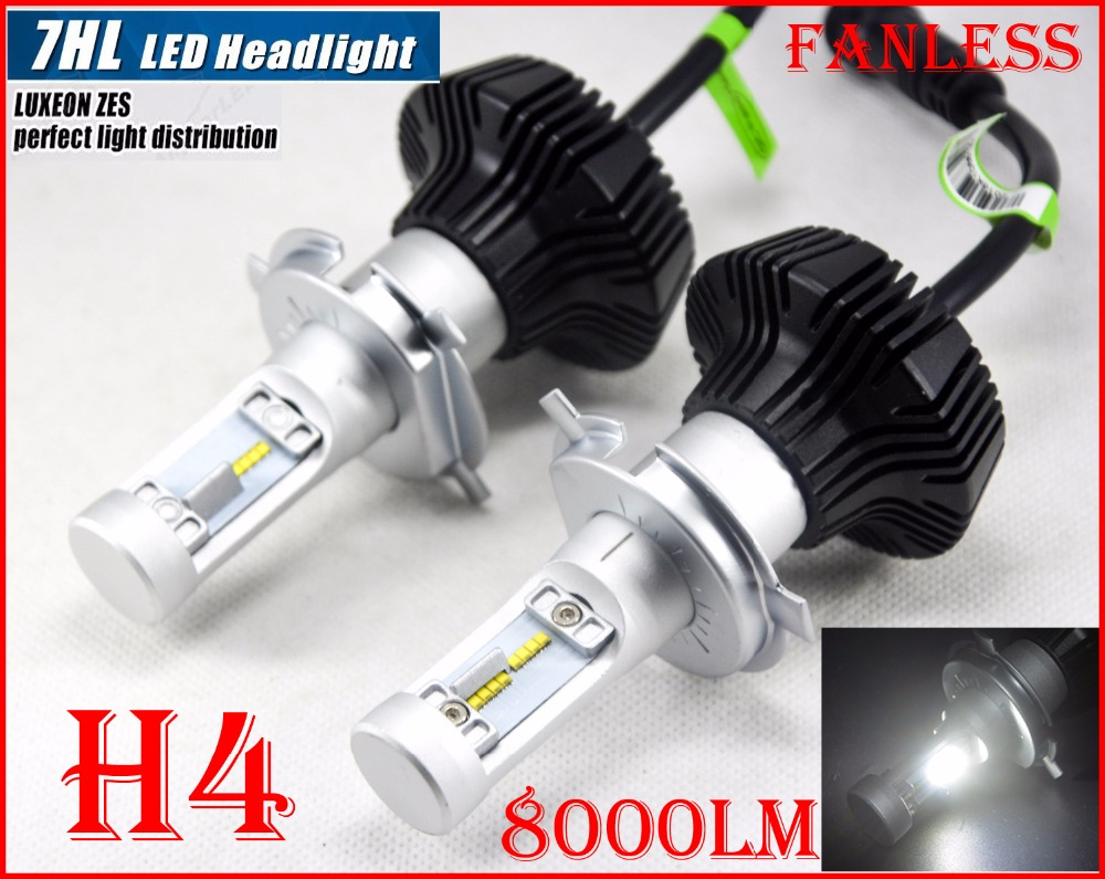 DHL 4 Sets H4 HB2 9003 50W 8000LM G7 LED Headlight LUMILED LUXEON ZES 32SMD Chips Fanless 6500K Xenon White Hi/Low Beam Driving