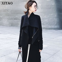 XITAO Korea Spring New 2018 Casual Women Solid Color Turn Down Collar Jackets Female Full