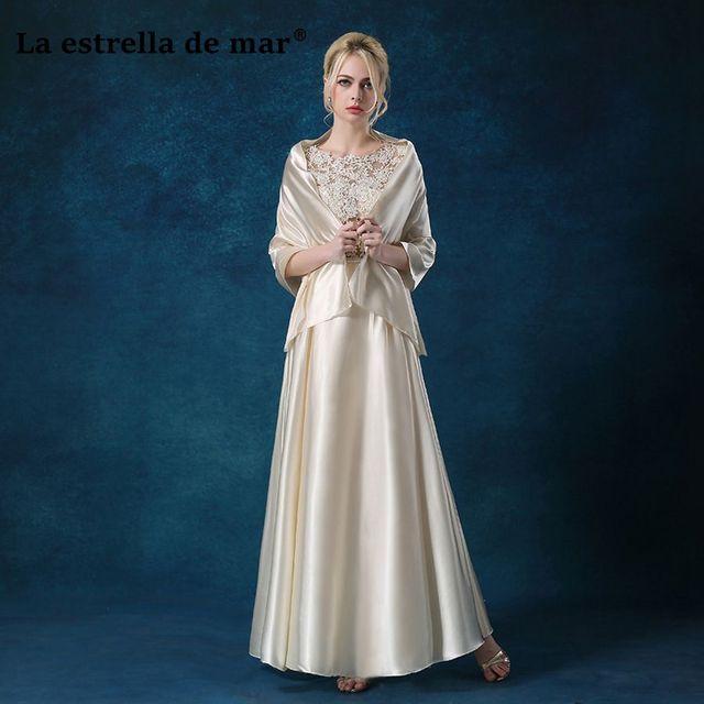 Vestido de madrinha de casamento longo new lace sleeve a Line gift shawl 2  piece blush Ivory bridesmaid dresses elegant ecb00747f594