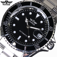 Top Luxury Brand WINNER Black Watch Men Casual Male Automatic Mechanical Watches Business Sports Military Stainless