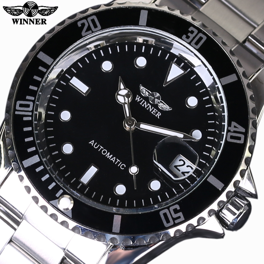 Top Luxury Brand WINNER Black Watch Men Casual Male Automatic mechanical Watches Business Sports Military Stainless Steel Watch ultra luxury 2 3 5 modes german motor watch winder white color wooden black pu leater inside automatic watch winder