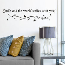 New Smile Art Vinyl Mural Home Kitchen living room Decor Removable Text Patterns Wall Stickers Creative Text sticker wallpaper(China)