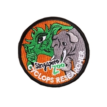 Custom Embroidered Round Patch  Wild Animal Iron On Applique for Clothing welcome to customize your own patch
