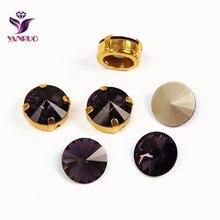YANRUO 1122 Rivoli Fancy Stones Amethyst Dark Purple Glass Beads Pointback Crystal With Claw Setting Crafts Sew on Dress