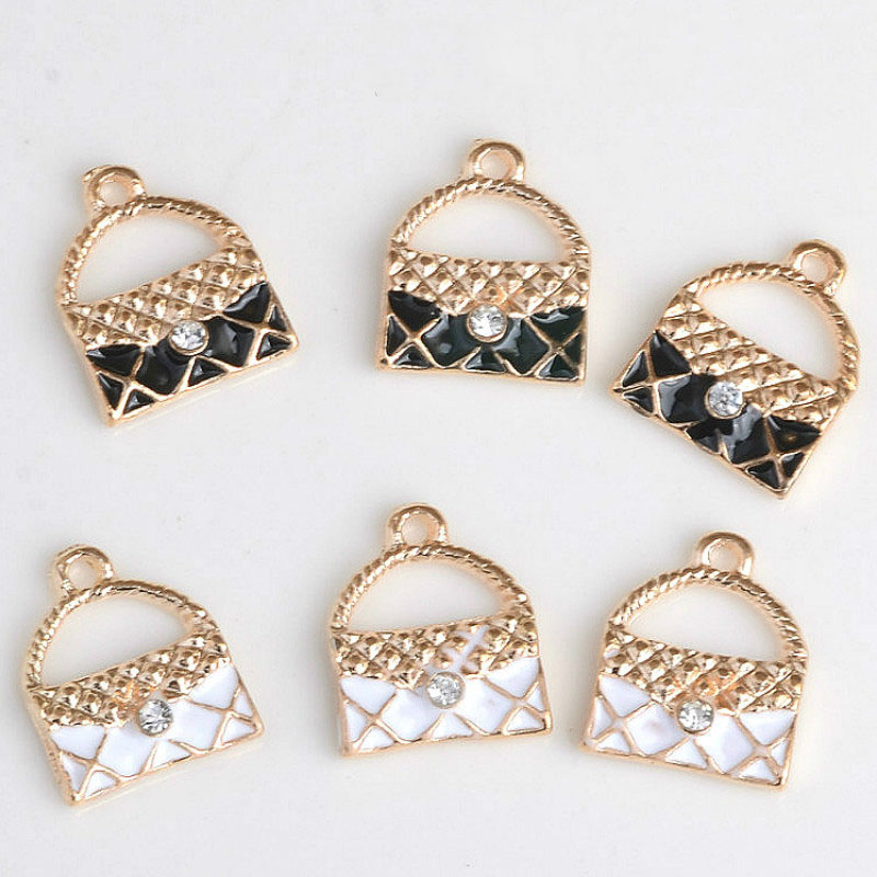 Wholesale 60PCs 11*14MM Black White Enamel Colors Gold Tone Alloy Handbag Pendants Women Bags DIY jewelry Charm Pendant Craft