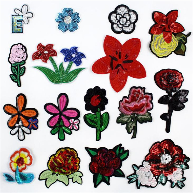 15cm flower series diy patch deal with it clothes iron on patches for clothing t shirt sequins stickers halloween christmas gift