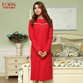 Free shipping female full dress spring and autumn plus size 100% cotton long-sleeve nightgown women sexy Sleepshirts 150 kg