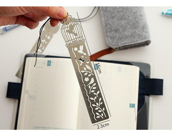 Cute Kawaii Creative Horse Birdcage Hollow Metal Bookmark Ruler For Kids Student Gift School Supplies