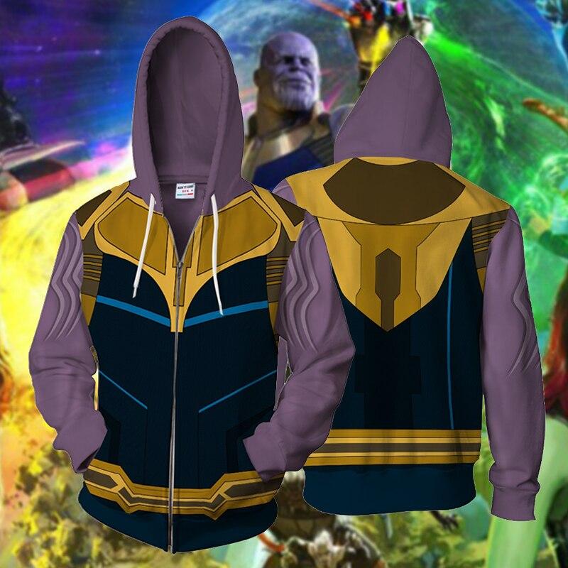 Uomini con cappuccio della chiusura lampo avengers giacca marvel con cappuccio Uomo di Ferro Thanos Captain America Black Panther 3D Stampa Felpata del Cappotto Cosplay