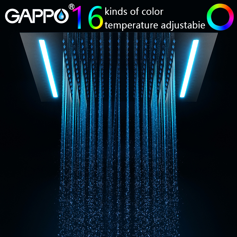 gappo shower faucet 16 colors bathroom mixer Intelligent LED waterfall bath mixer bathroom wall mounted shower faucet цена