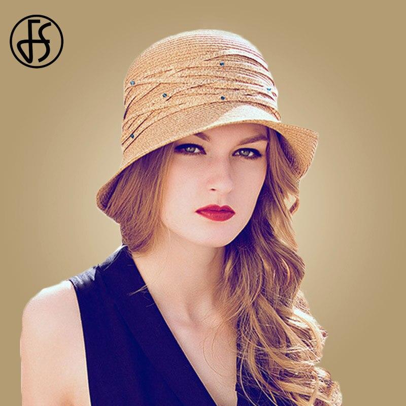 958a1bcf3708c FS Foldable Sun Hat For Women Wide Brim Summer Beach Floppy Ladies Straw  Hats Fashion Visor