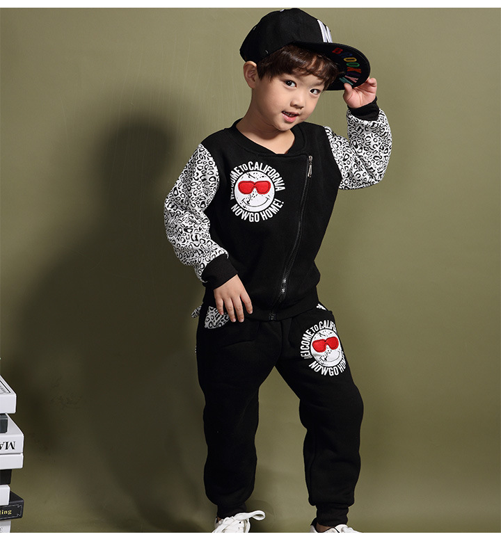 Boys Korean Children's Winter New Glasses Leopard Cashmere Sweater and Suit for Kids Grey Black Cotton for 2~8 Years Old