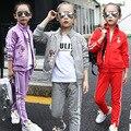 Retail Teenage kids Clothing Set Autumn Girls Clothes Sports Suit Long Sleeve flower Top & Pants 2 pcs Golf sportswear sty00539