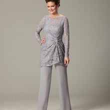 140e2a1d431 Mother of the Bride Dresses for Weddings 2019 Silver Lace Chiffon Pants  Suit Wedding Party Guest