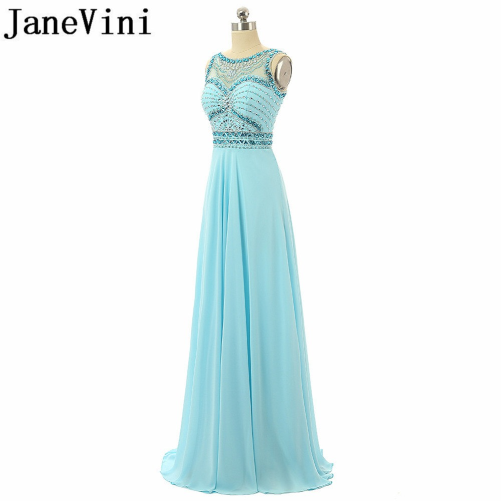JaneVini Luxurious Crystal Beaded Long   Bridesmaid     Dresses   A Line Sheer Neck Backless Chiffon Floor Length Wedding Party Gowns