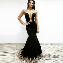 Arabisch Gold und Schwarz Meerjungfrau Perlen Spitze Langarm Samt Abendkleider 2016 Lange Partei-abschlussball-kleider vestidos de festas VE107