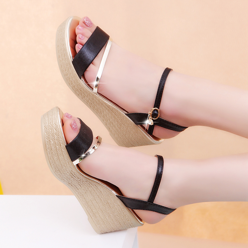 Wedges Platform Women Sandals Fashion Quality Comfortable Bohemian Women Sandals For Lady Shoes high heel Gold Black Shoes mcckle fashion superior quality comfortable bohemian wedges women sandals for lady shoes high platform open toe flip flops plus