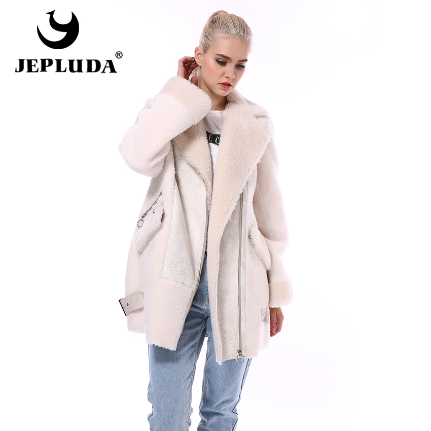 JEPLUDA Fashion Moto & Biker Natural Wool Blends Jacket Diagonal Zipper Soft Warm Real Fur Coat Women Winter Real Sheep Fur Coat