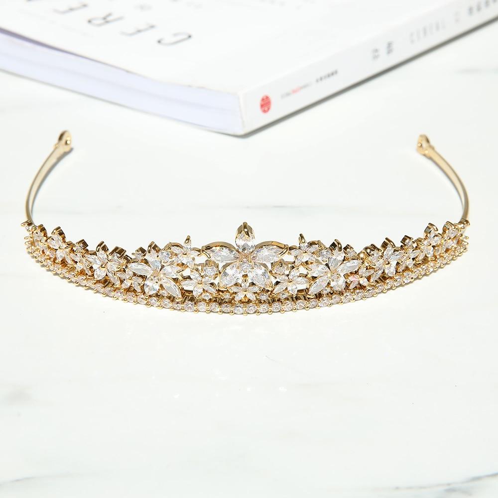 Parmalambe High Quality Gold Zircon Hair Tiaras Flower Charms Bridal Headpieces Crown Wedding Hair Accessories coroa de noiva цена