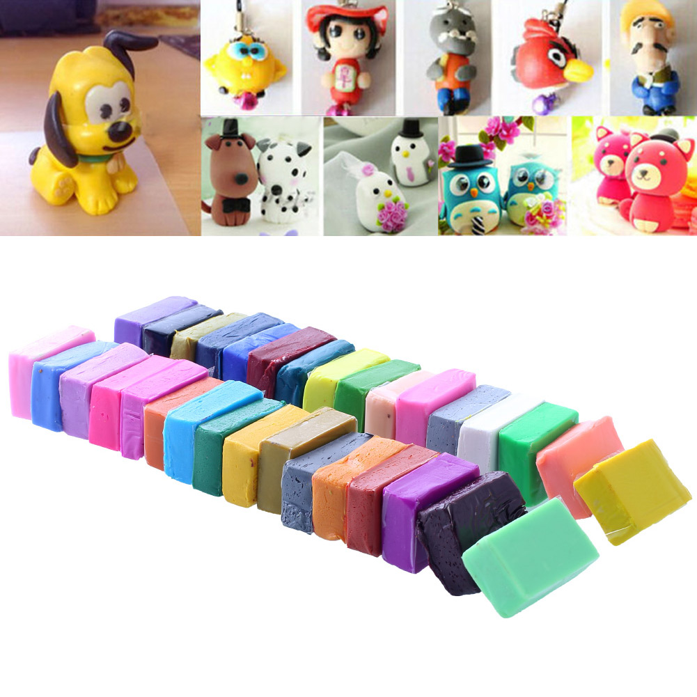 32 Colors Polymer Clay Plasticine Playdough DIY Handmade Clay Mud Block Moulding Bake + 5 Tools Set Modellings Clay For Children