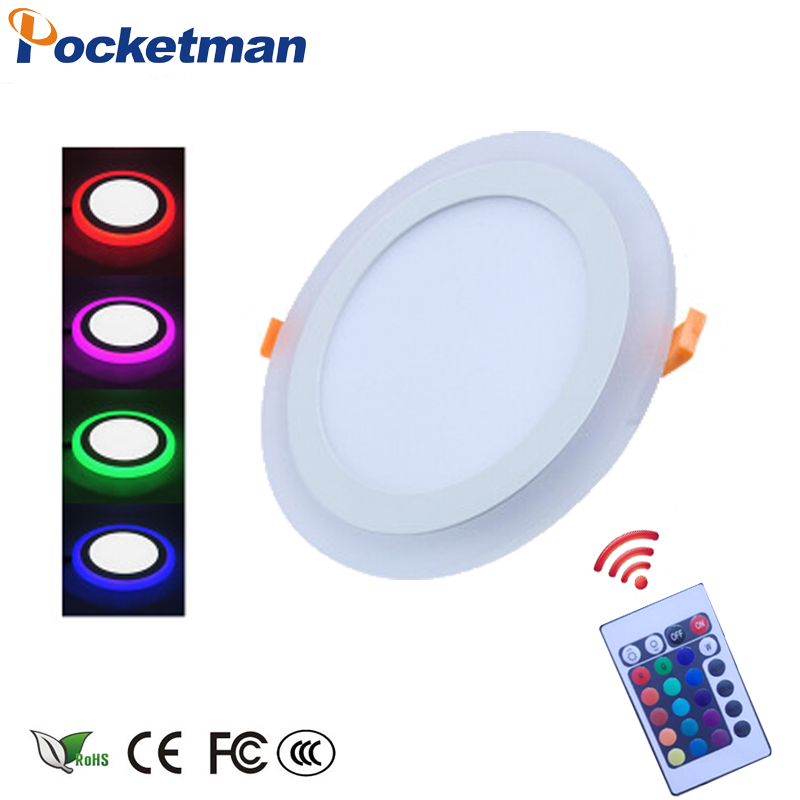 1 stücke LED Downlight 6 Watt 10 Watt 18 Watt 24 Watt 3 Modell Led-lampe doppel Farbe Panel Licht RGB /& white Deckeneinbau mit Fernbedienung Control