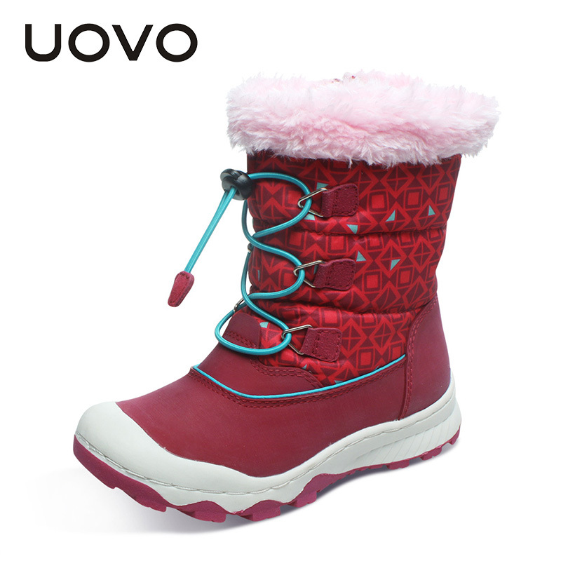 UOVO Children Snow Boots Red Purple Girls Winter Boots Fur Lined Botas Big Girl Booties Anti-slip Top Quality Shoes Size 29-38