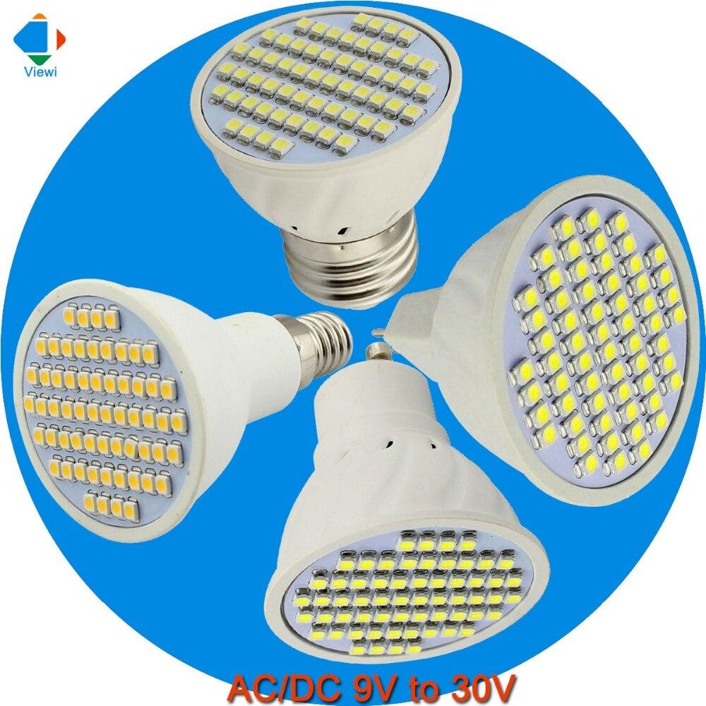 5x bombilla led light bulbs 12 volt mr16 GU10 E27 E14 spotlight 3w plastic small spot light Ac/Dc 12v 24v smd 3528 60 leds lampe
