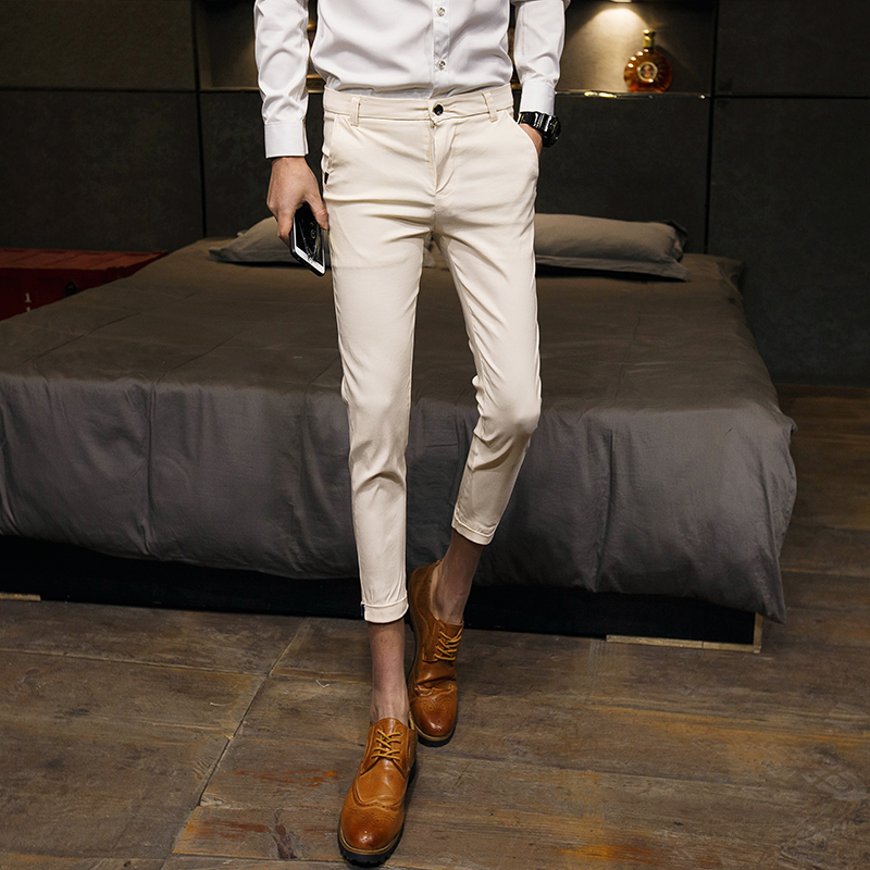 Fashion 2019 Summer Men Pants Slim Fit Casual Solid Business Work Pant Men Ankle Length Thin Mens Dress Trousers 3Colors 28-33