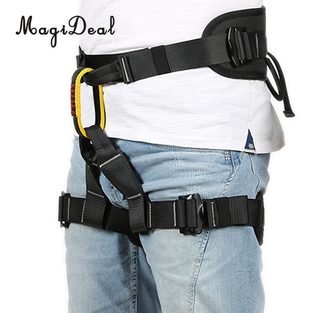 MagiDeal Heavy Duty Professional Rock Tree Climbing Sitting Harness With Safety Belt Lanyard 22KN Carabiner Rappel Rescue Equip new professional safety rock tree climbing rappelling harness seat sitting bust belt safety harness