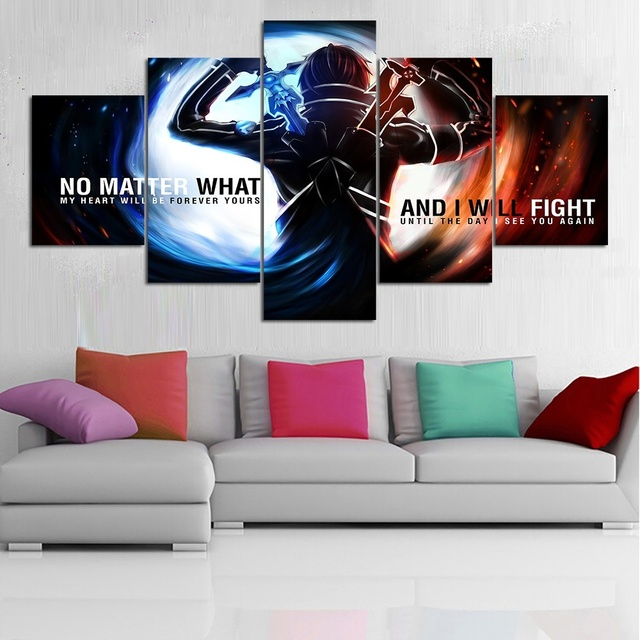 Hd Printed Animation Art Sword Art Online Poster Picture Oil