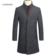New arrival winter style Men's boutique woolen coat business casual covered button stand collar men long woolen trench coat