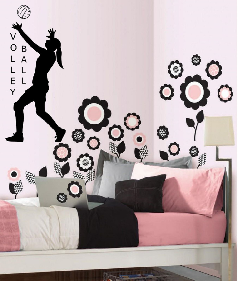 volleyball vinyl wall decal sticker decor sports girls room quote art players 12x24inchchina - Volleyball Bedroom Decor