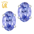 GemStoneKing 1.00 Ct Oval Genuine Tanzanite Stud Earrings 6X4mm Women 925 Sterling Silver Engagement Gemstone Earrings Jewelry